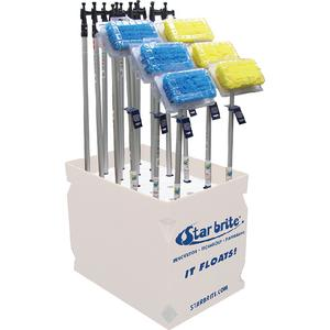 Starbrite 40818 Mixed Display With Boat HOOKS, Blue & Yellow Brushes
